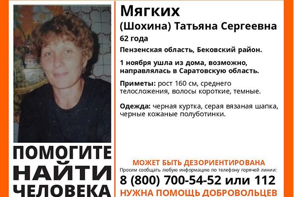 Саратовские волонтеры разыскивают пропавшую жительницу Пензенской области